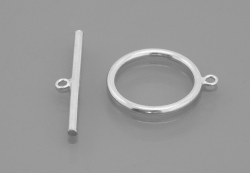 Sterling Silver Plain Round Toggle Clasp