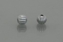 Sterling Silver Oxidized Corrugated Round Beads